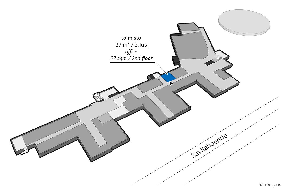 Vuokrattavana toimistohuone 2.kerroksessa. Tiloissa yhteiskäyttöinen taukotila. Voidaan vuokrata yhdessä tai erikseen 19m² tilan kanssa.